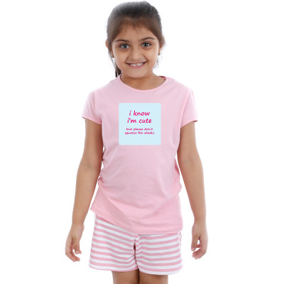 Pink Half sleeve Girls Pyjama- Cheeky Quotes